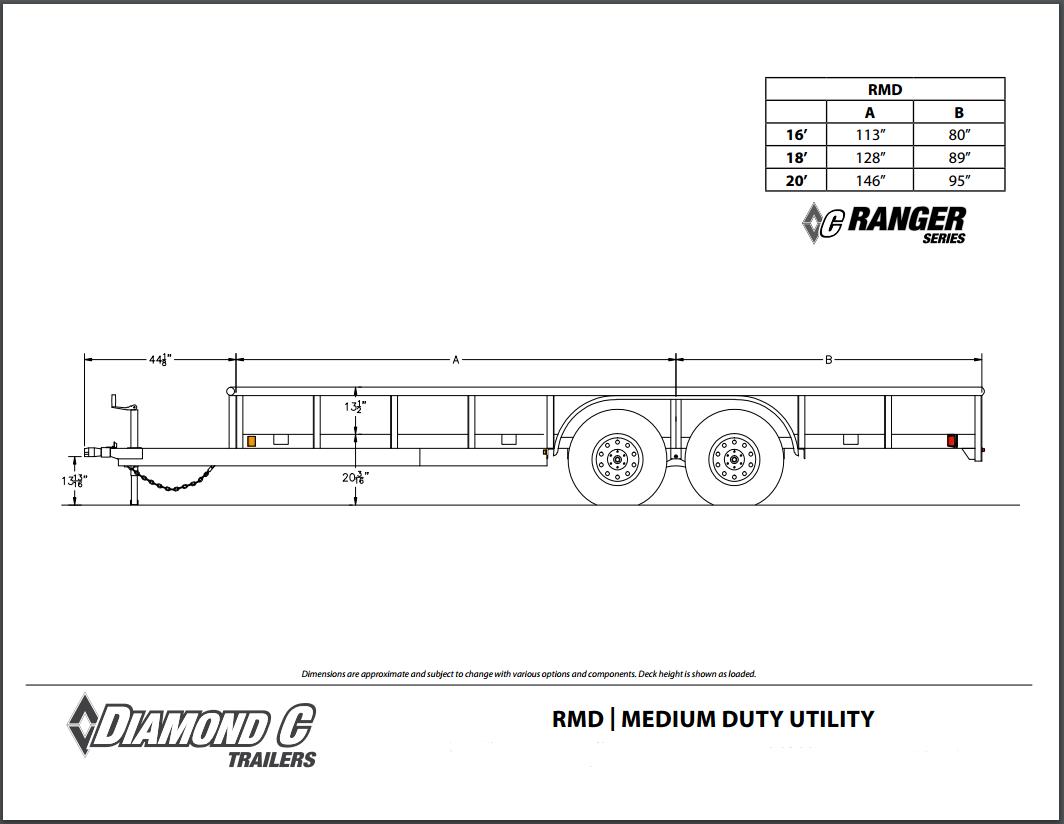 RMD DIMENSIONS diamond c tandem axle utility trailers tandem axle utility trailer wiring diagram at soozxer.org