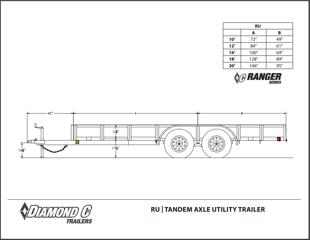 Trailer Axle Sizes : Diamond c tandem axle utility trailers