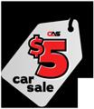 Five Dollar Car Sale Tag