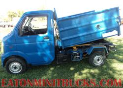 High side dump bed on a mini truck