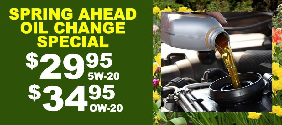 Ready for Spring - $29.95 SW30 and 5W40 Oil Change, $34.95 OW20 Oil Change Up to 5 qts. Of Oil. Synthetic oil and any other parts /labor extra. Must present coupon at time service order is taken.