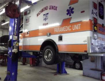 Richmond ambulance on lift