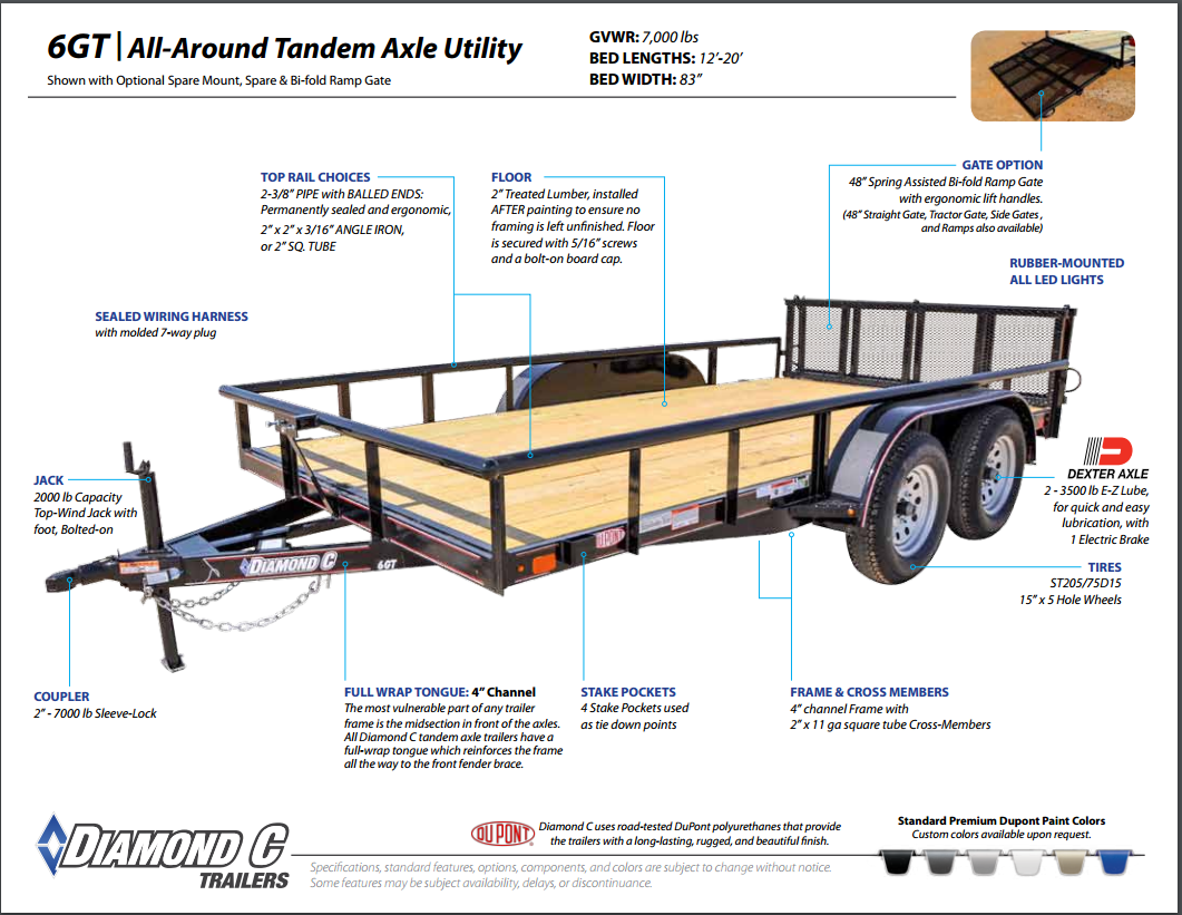 Diamond C Tandem Axle Utility Trailer In Stock Ready To Go Double Car 24 Foot Gooseneck Flatbed Trailers 6gt All Around