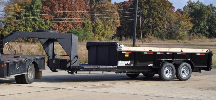 diamond c custom Low Profile Dump w/ Stationary Front Deck Super custom 24LPD, Low Profile Dump Trailer. 60″X96″ Stationary deck in front of the dump body. Neck, deck, and front of dump body protected with Spray-on Bed-liner.