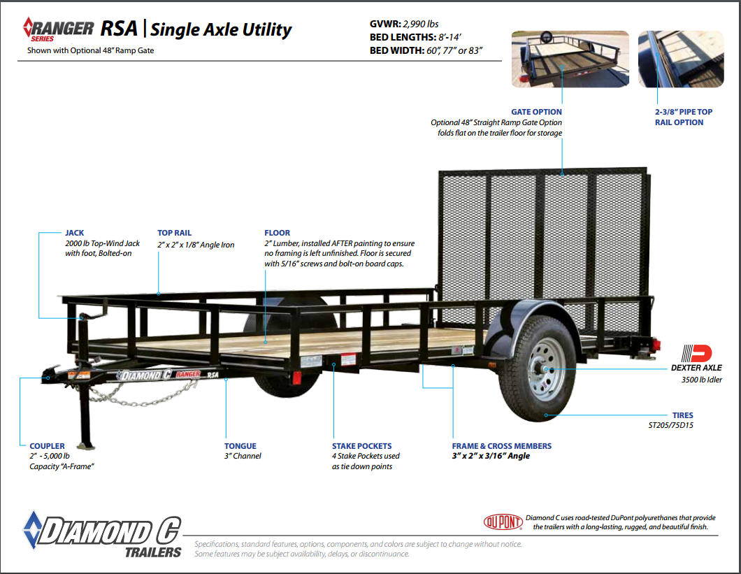 Diamond C Single Axle Utility Trailers Trailer Wiring Harness Rsa Ranger