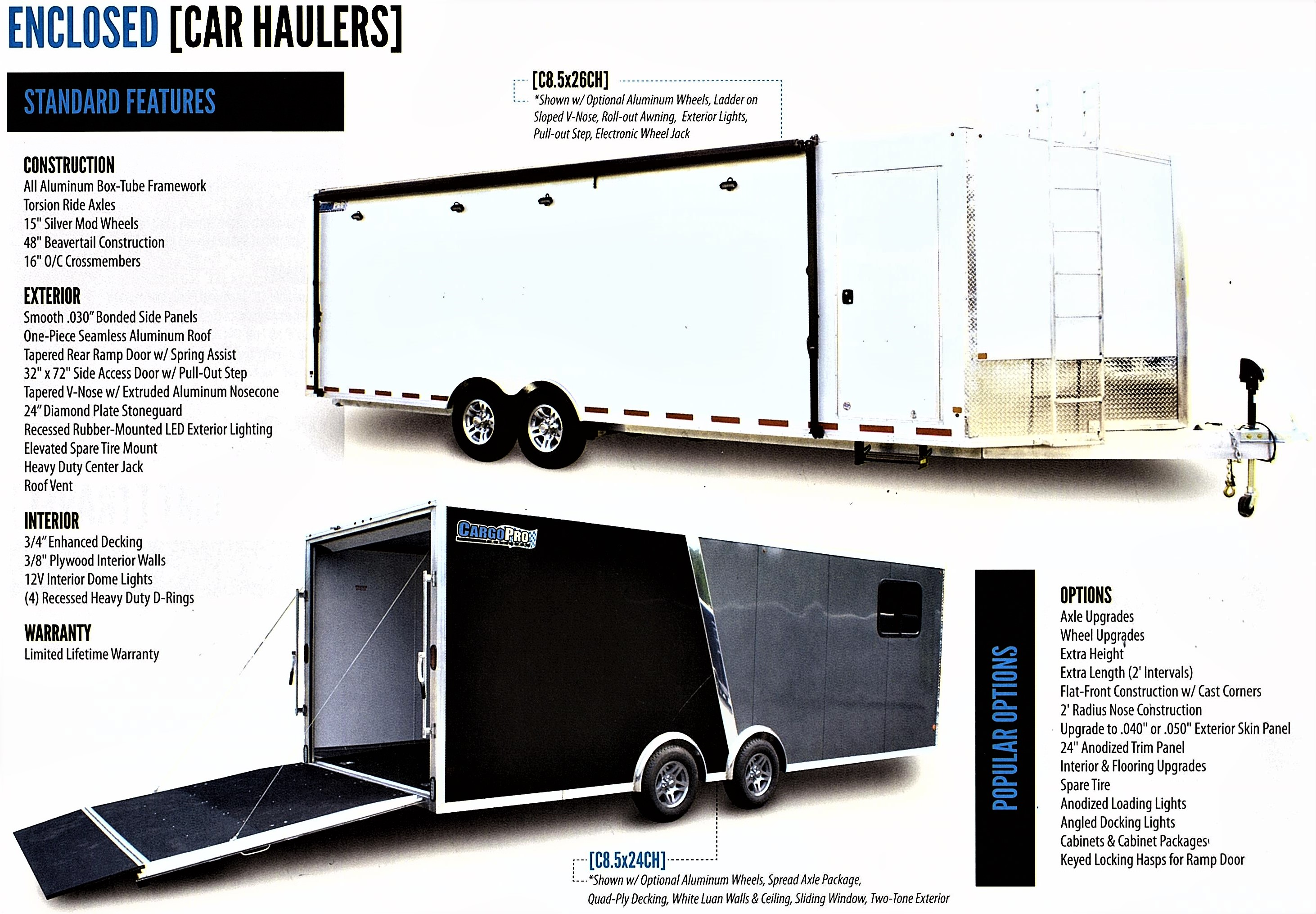 enclosed bumper pull car haulers