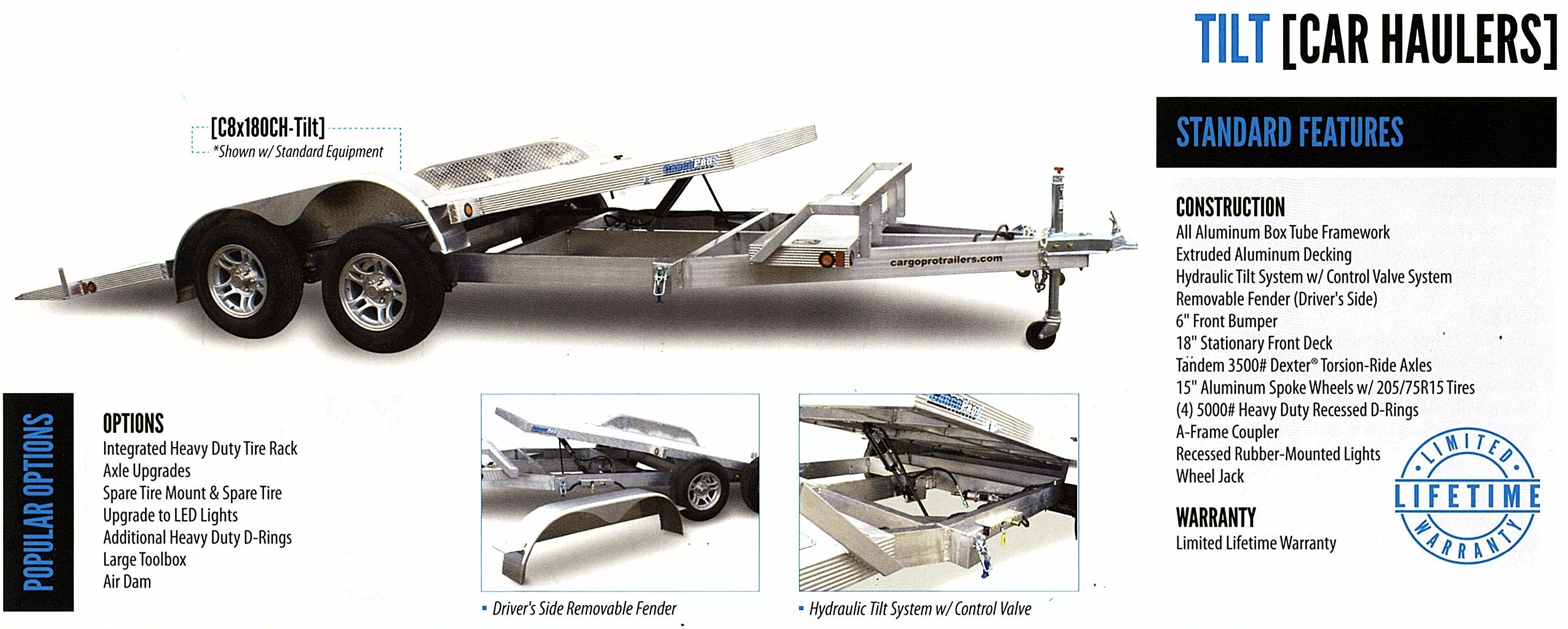 aluminum open car trailer cargo pro snow pro bumper pull