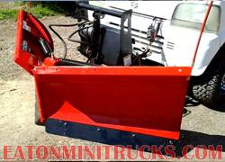 Boss utv V plow mounted on a 4x4 off road mini truck