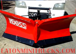Boss 78 inch V snow plow on a 4wd mini truck